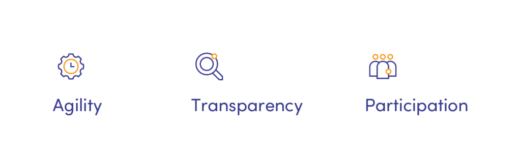 Agility, transparency, participation - our 3 values