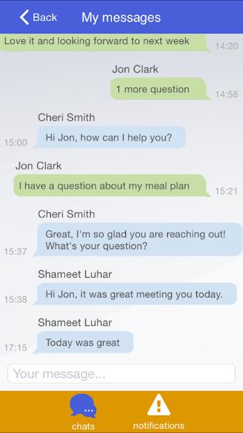 Vheda Health - my messages