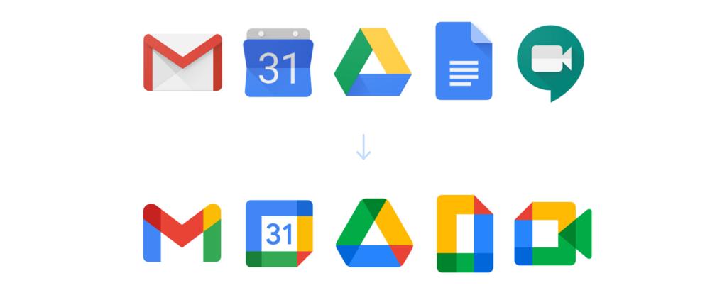 Google Workspace (former G-Suite) logo: old vs new